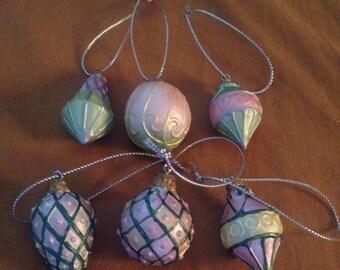 Victorian Christmas Ornaments, (6) Miniature Christmas Decor, Pink Christmas Xmas Ornaments, Vintage Christmas, Victorian Craft Items