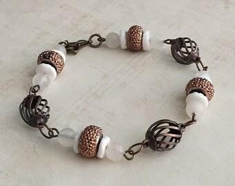 Quartz Bead Bracelet, Quartz Bracelets, White Quartz Bracelet, Quartz Bracelet, White Bead Bracelet, White Bracelet, White Beaded Bracelet