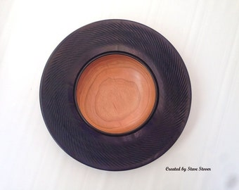 "Decorative Bowl - Textured & Dyed Rim Bowl - ""Midnight Swirl"""
