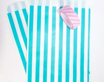 Pack of 12 pink and white stripes favor bags, birthday party, candy bar, wedding, gift