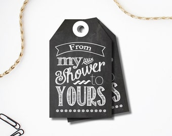 From My Shower to Yours - Baby Shower Favor Tag Printable - Baby Shower Favor Tag For Soap - Chalkboard Shower Favor Tag - Loofah Favor Tag