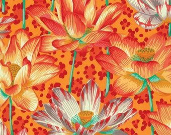 1/2 yard Leopard Lotus Orange Philip Jacobs  fabric   PJ081