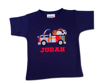 Boy's Sports Truck Birthday Shirt with Embroidered Name - F74