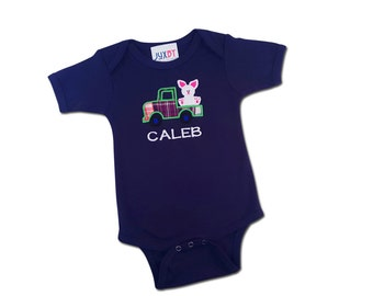 Baby Boy Easter Bunny Truck Bodysuit with Embroidered Name
