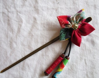 14cm hair stick with a flower and a bell / KANZASHI - made with vintage silk Japanese kimono fabric