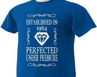 53rd Birthday T-Shirt 53 Years Old Established in 1964 Perfected Under Pressure Diamond