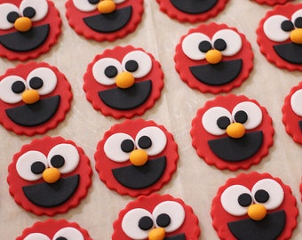 12 Elmo Fondant Cupcake Toppers