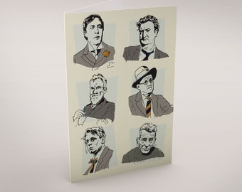 Irish Writers Greeting Card by Clover Rua. Lovingly designed and made in Ireland. Ideal for anyone who has a passion for Irish Literature