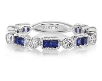 Sapphire Diamond Band 18k White Gold Princess Cut Genuine Sapphires & Round FVS2 Diamonds .86tw Wedding Anniversary Band Engagement Ring