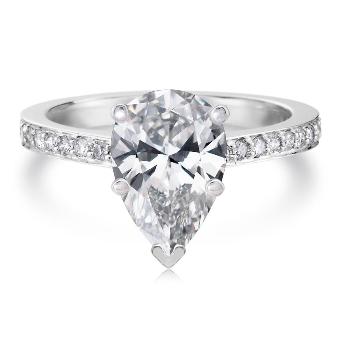 forever one moissanite pear shape engagement ring 9x6. Black Bedroom Furniture Sets. Home Design Ideas