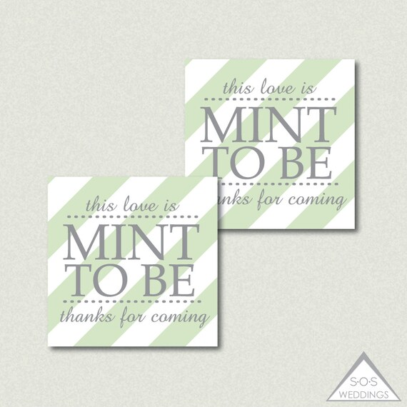 Mint to be Favor Tags, Mint Favors, Printable Wedding Favor Tags ...