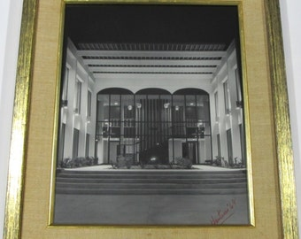 Fantastic Mid Century Modern Architectural Black & White Photo Huntress 1969