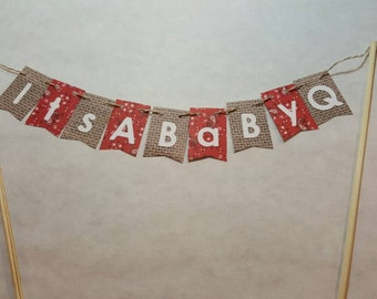"Cake Bunting, ""BaByQ"", Baby Shower, Couples Shower,  Sprinkle, BBQ, Cake Topper, Paper banner"