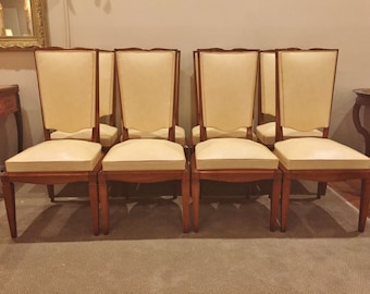 Set 8 French Arbus style Mid Century cherrywood dining chairs. c. 1940's ' Free Shipping in ' US ' 48