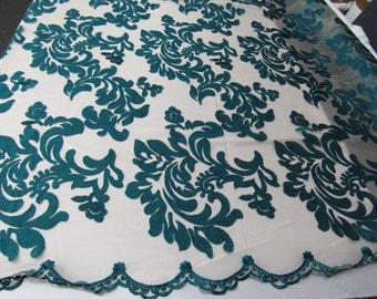 Teal green royalty fabric embroider on a 2 way stretch power mesh mesh.Nightgown/Prom/Lace. Sold by the yard.