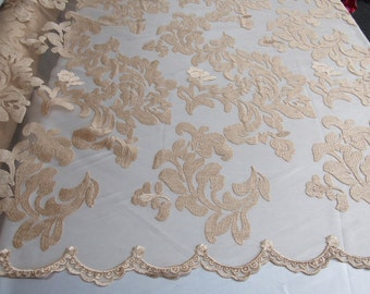 Champagne royalty fabric embroider on a 2 way stretch power mesh. Nightgown/Prom/Lace. Sold by the yard.