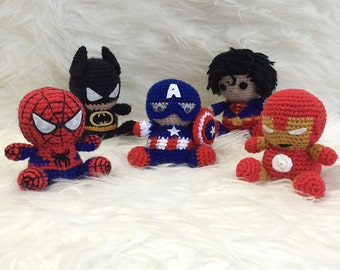 Free Amigurumi Superhero Patterns : Amigurumi Batman Spiderman Captain America Superman