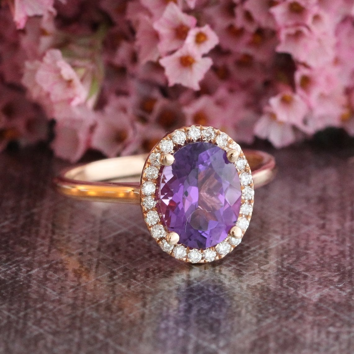 halo diamond amethyst engagement ring in 14k rose gold purple. Black Bedroom Furniture Sets. Home Design Ideas