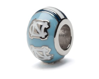 UNC Tarheels Stainless Steel Bead Charm - For Bracelet or Necklace