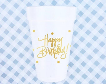 Happy Birthday - Foam Cups (Qty 24)
