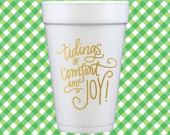 Christmas Foam Cups (Qty 12) - Tidings of Comfort and Joy