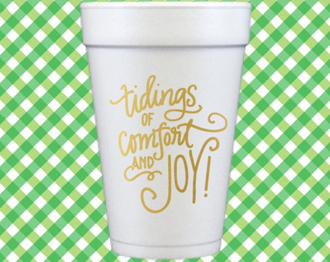 Christmas Foam Cups (Qty 12) - Tidings of Comfort and Joy