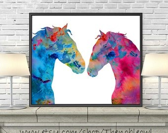 Watercolor Horse Painting, Love Art, Horse Art, Animal Wall Decor, Watercolor Art Print, Animal Art Illustration - H92