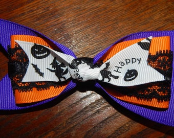 Halloween Hair Bow, Purple and Orange Hair Bow, Black Lace Hair Bow, Pumpkin Hair Bow, Witches Hair Bow, Bat Hair Bow, Halloween Bow, Bows