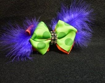Halloween Hair Bow, Polka Dot Hair Bow, Boutique Hair Bow, Halloween Colored Bow, Green and Purple Hair Bow, Green and Orange Hair Bow, Bows