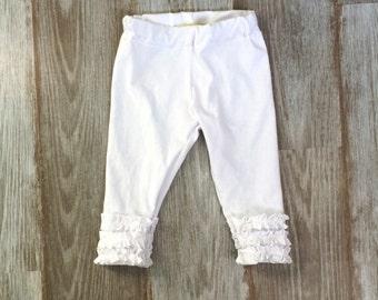 Girls White Leggings- White Ruffle Leggings Baby- Fall Leggings- Ruffle Pants Baby- Girl Toddler Leggings- Baby Boutique- Baby Leggings