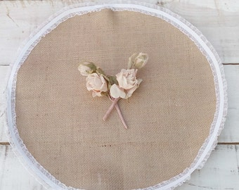 "Burlap Table Toppers - Burlap and Lace Table Toppers - Burlap Wedding Table Toppers 18"" - Centerpieces - Set of 15 - Bridal Shower Decor"