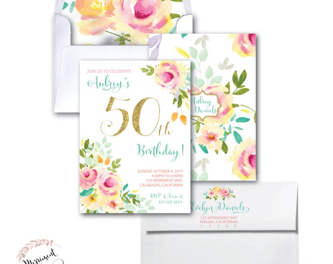 50th Birthday Invitation //Roses // Peonies // Peony // 50 // Any Age // Peach // Pink // Mint // Gold Glitter // Yellow// MALIBU COLLECTION