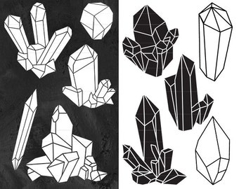 Crystal Clipart, Raw Crystal Clip Art, Crystal Silhouettes, Black and White Clip Art