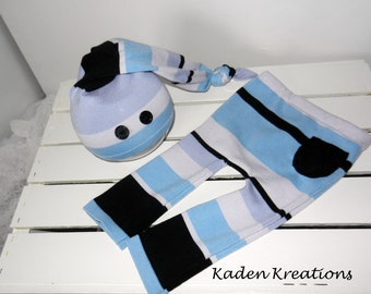 Upcycled Newborn Photography Prop, Baby Boy posing Prop, Blue Striped Pants and Hat Photography Set, Upcycled Boy Photography  Prop