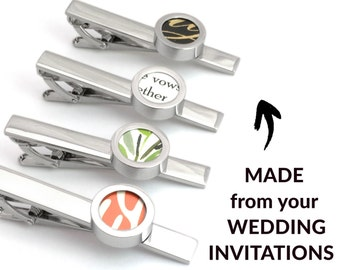 Paper Anniversary Gift for Him | Wedding Invitation Tie Bar | 1st Anniversary | First Anniversary | 1-Year Anniversary for Husband