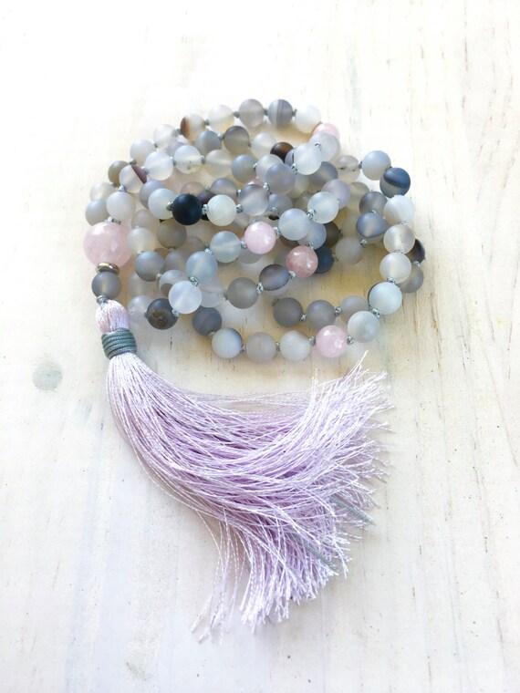 Dream Mala, Tassel Mala Beads, Yoga Jewelry, 108 Bead Mala, Healing Mala Necklace, Meditation Mala, Bohemian Jewelry, Long Tassel Necklace