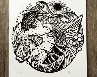 Ocean and Earth. Woodcut print.