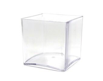 Clear Acrylic Cube Vase Display