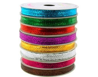 Solid Metallic Wired Christmas Ribbon, 3/8-Inch, 10 Yards