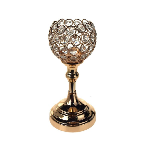 Crystal Globe Centerpiece Stand 9 1 2 Inch Gold