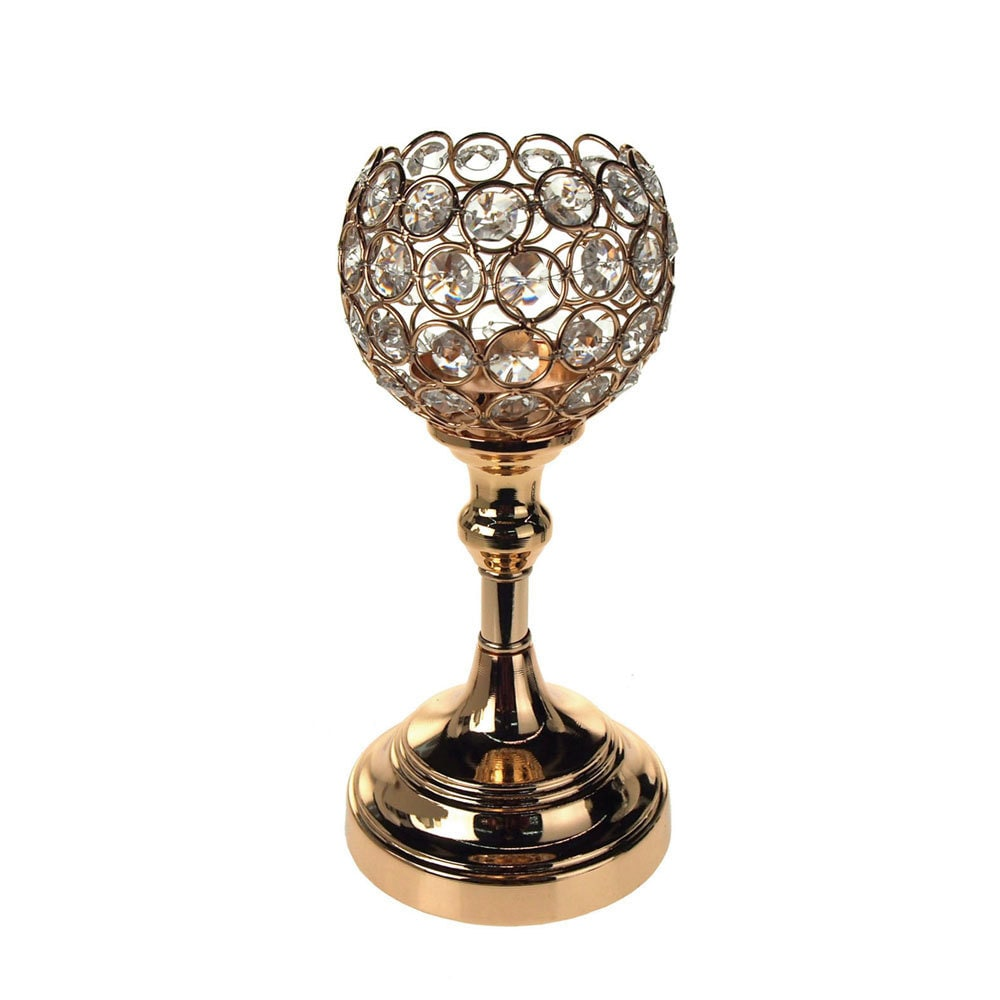 Crystal globe centerpiece stand inch gold