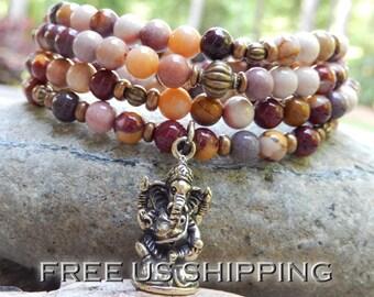 Mookaite Jasper Mala, Yoga Wrap Bracelet, Meditation, Ganesh Mala, Buddhist Mala, 3 Chakra Mala, 108 Prayer Beads, Reiki infused