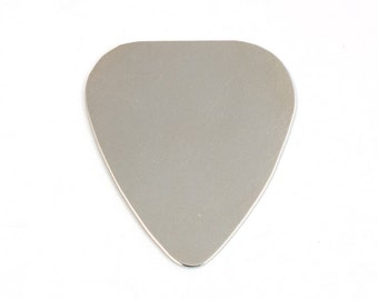 Ten Nickel Guitar Pick Blanks, 24 Gauge Stamping Blanks, Tumbled for Hand Stamping