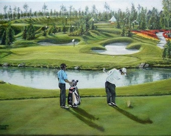 World Championship golf game 2012. England. painting on canvas box.