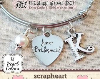 Jr BRIDESMAID Bracelet, Junior Bridesmaid Gift, Personalized Wedding Jewelry, Personalized Bridesmaid Keepsake, Junior BRIDESMAID Thank You
