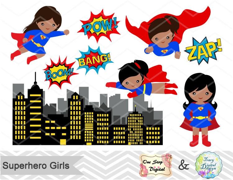 Clip Art Supergirl Clipart supergirl clipart etsy superhero girls digital clip art cute pop text bubbles africa american girl 0208