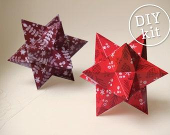 Printbare DIY kit Papieren kerststerren. DIY Kerstdecoratie. Eenvoudig te maken Kerststerren download