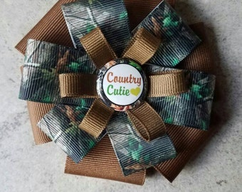 CAMO CUTIE Hair Bow - 4 inch stacked ribbon style with decorative button center
