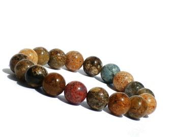 10mm Fancy Jasper Bracelet, Jasper Gemstone Bracelet, Beaded Stone Bracelet, Multicolor Gemstone Bracelet, Beaded Jewelry, Jasper Jewelry
