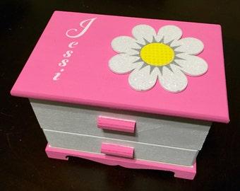 Personalized jewelry box for girls pink white flower glitter customized jewelry organizer treasure box for girls trinket box with mirror